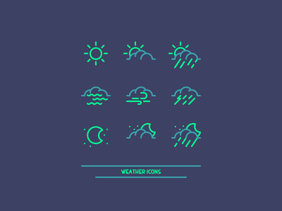 Weather Icons windy mist storm rain moon sun clouds icon design weather graphic design icon