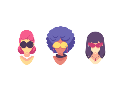 Avatars avatars colors hairstyle sunglasses heads female angels graphic design illustration