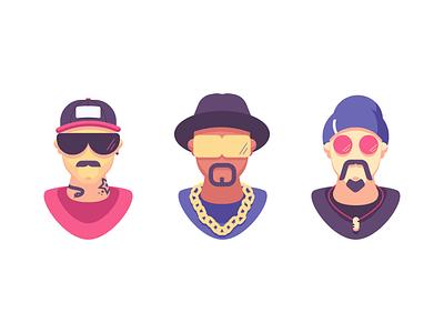 Avatars 2 male avatars chains sunglasses hats heads graphic design illustration
