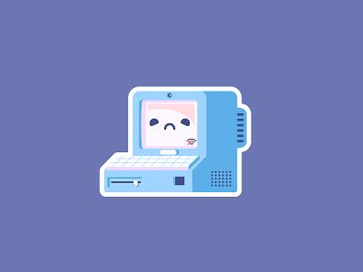 No Service alone unhappy sad internet no service pc graphic design sticker illustration