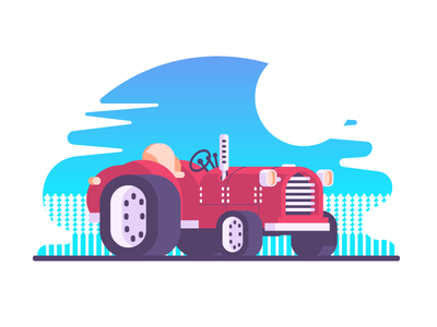 Wannabe Tractor field wheels farming harvest old tractor car graphic design illustration