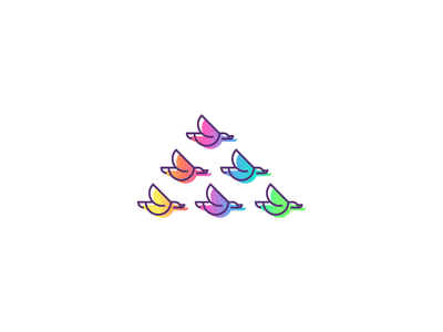 Flock Logo colorful lgbtq flying family flock birds logo logo design graphic design