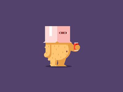 Shy cardboard box box bear shy graphic design illustration