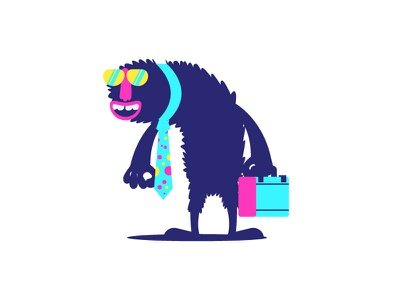 Business happy briefcase business big nose hairy monster graphic design illustration
