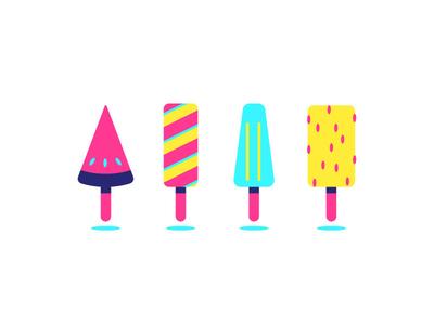 Face Of Summer vivid retro bar fruit stick popsicle ice cream graphic design illustration