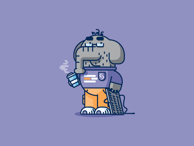 PHP Coder elephant coding php graphic design illustration
