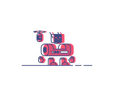 Robot Friends friends magnetic floating vintage retro simple robot graphic design illustration