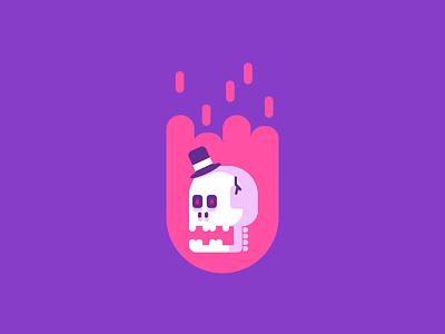 Flaming Skull color simple burning tophat flames skull graphic design illustration