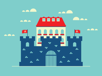 Pirate Fort gate tower wall building castle fort fortress retro vintage pirate graphic design illustration