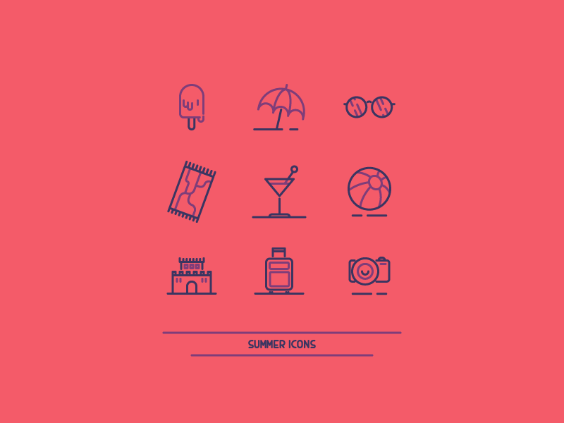 Summer Icons camera ball drink castle sunglasses ice cream warm summer icon graphic design