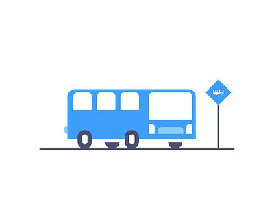 Bus Station flat simple public transport transportation car bus station bus graphic design illustration