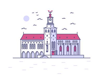 Stockholm City Hall line birds sky sea city hall building sweden stockholm graphic design illustration