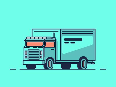 Hauling Truck shadows minimal simple line haul car truck graphic design illustration