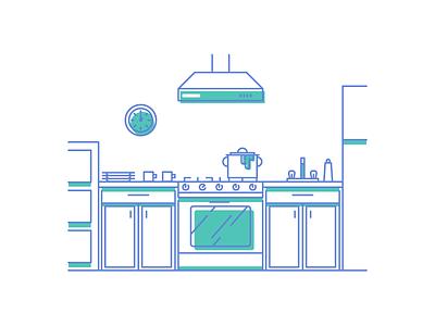 Cooking simple line clock pot fridge stove oven kitchen cooking graphic design illustration