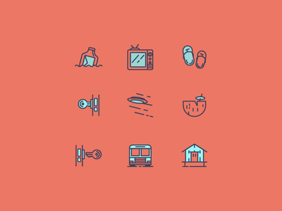 757BnB Icons capacity tv whole house bus check out check in email icon design icon