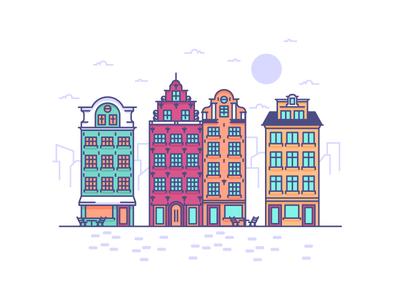 Visiting Stockholm! travel holiday sweden stockholm old town skyline old buildings buildings graphic design illustration