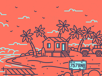 Beach House Illustration holiday summer ocean sea sand jeep house beach graphic design illustration