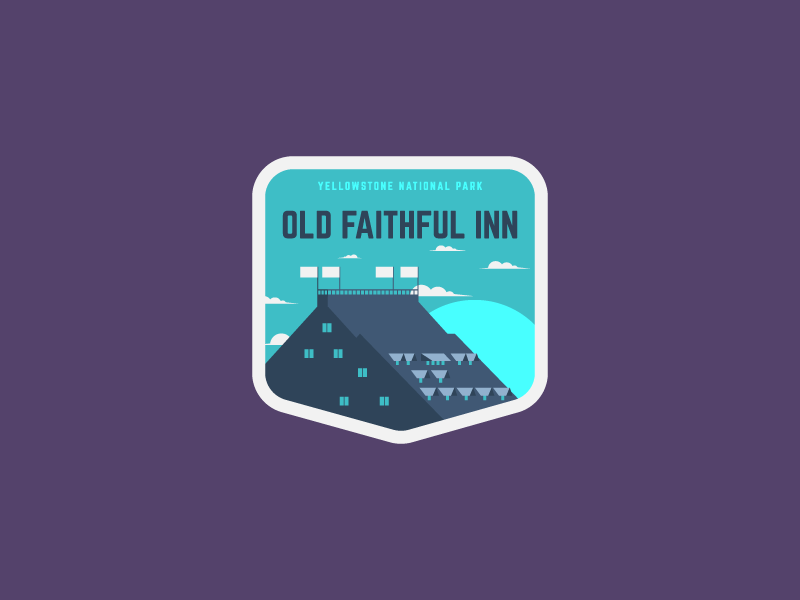 Old Faithful Inn yellowstone national park old faithful inn illustration sticker design sticker