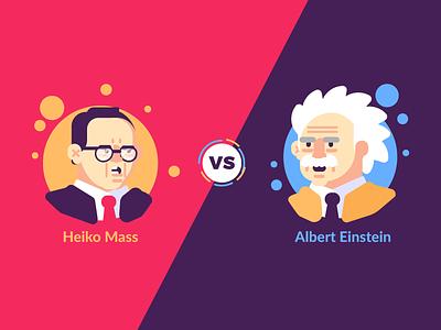 Maas VS Einstein illustration graphic design vs speech debate einstein hass politics germany avatar