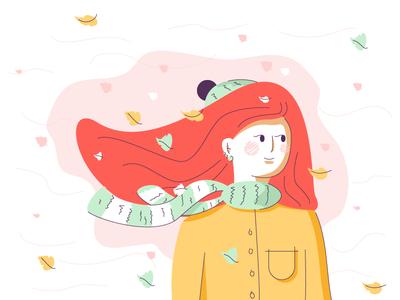 Autumn simple line leaves windy scarf beanie woman autumn avatar graphic design illustration