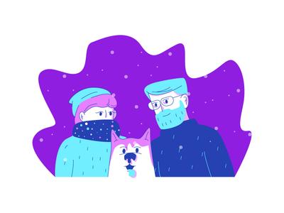 Snow Day pink purple blue happy snowing beanie beard man woman husky dog snow