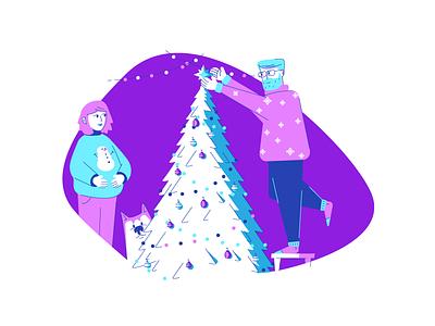 Decorating illustration graphic design christmas tree tree decorations man woman pregnant husky dog holiday christmas