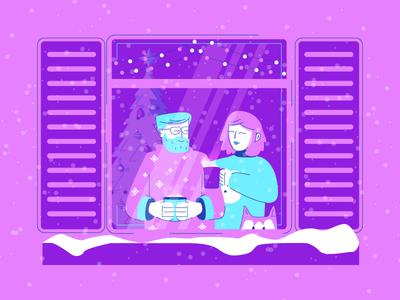 Hot Cocoa window dog christmas tree snowing warm hot cocoa coco christmas snow graphic design illustration