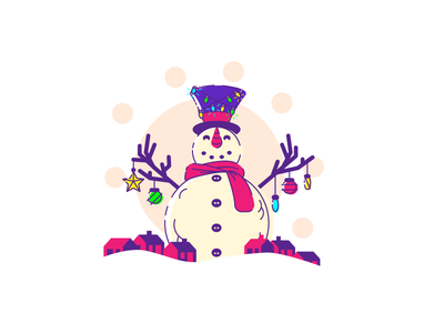 The Abominable Snowman tense tophat lights town houses christmas snowman graphic design illustration