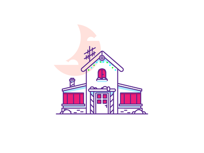 Holiday Home v2 illustration graphic design house snow christmas lights tree holiday snowing