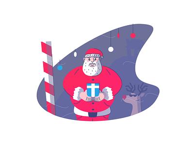 Santa Claus north pole gift reindeer christmas santa clause graphic design illustration