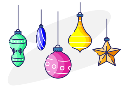 Holiday Stories graphic design christmas hangings globes decorations illustration