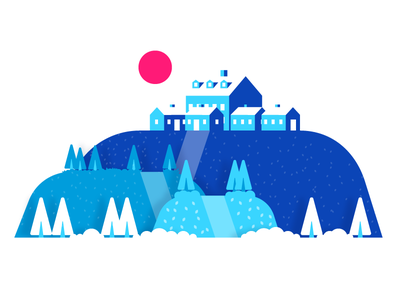 Blue Town bushes tree sun building house hill town graphic design illustration