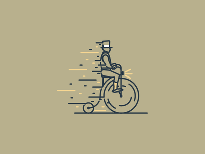 Need For Speed icon gentleman tophat old bicycle graphic design illustration