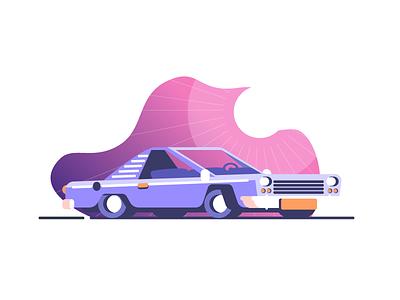 Lowrider vehicule vroom wheels low rider sun car graphic design illustration