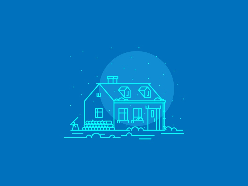 Snowy Cabin line light night cold snowy cabin graphic design illustration