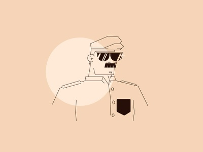 Police Guy cop sergent dude guy moustache police graphic design illustration