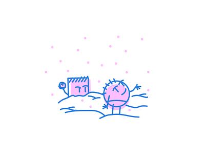 Snowing Again minimal line snowfight snowball snowing graphic design illustration