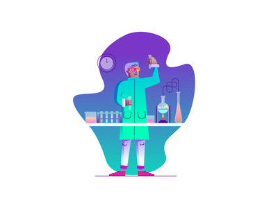 Time for Science! man science neon potions chemist graphic design illustration