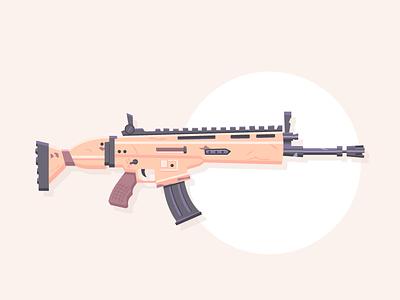Lock n' Load : Fortnite SCAR video game icon automatic rifle gun weapon rifle scar fortnite graphic design illustration