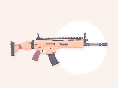 Lock n' Load : Fortnite SCAR video game icon automatic rifle gun weapon rifle scar fortnite graphic design illustration