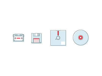 Video Games vintage retro cassette tape floppy disk disk graphic design icons illustration