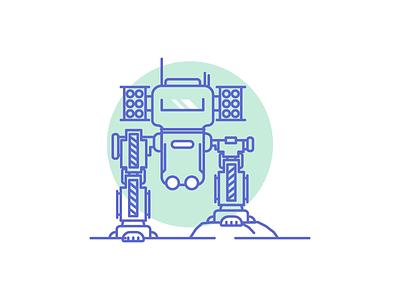 Mech icon control war military rockets robot mech graphic design illustration