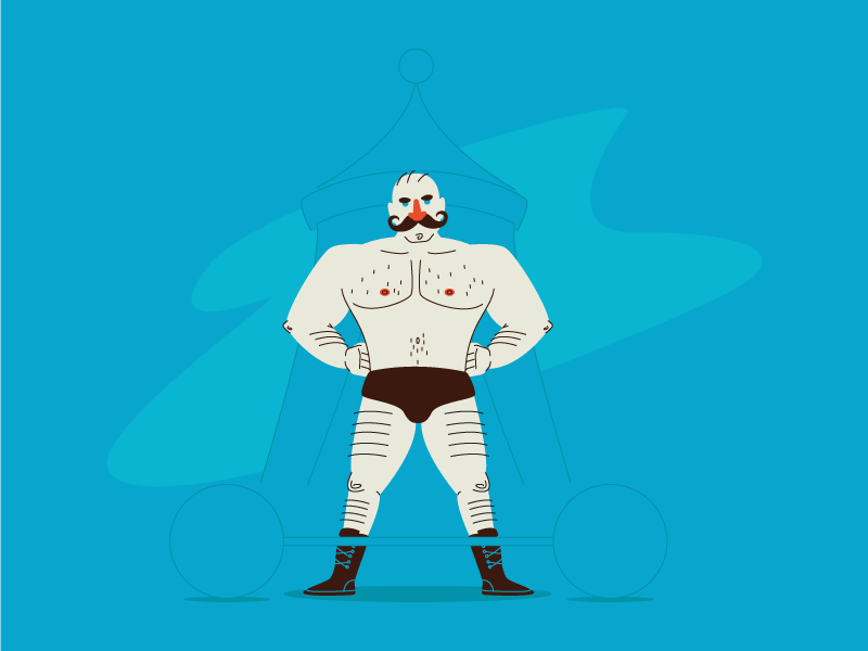 Old time strongman! tent hairy moustache circus fit muscle strongman graphic design illustration
