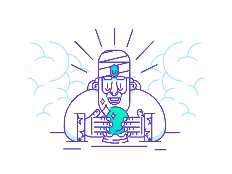 The Great Swahimi minimal excited happy guru magic globe fortuneteller icon design graphic design illustration