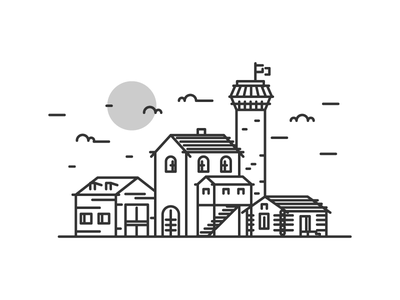 Medieval Town simple line tavern barn medieval buildings town graphic design illustration