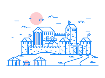Fort simple knights tent medieval towers castle fort graphic design illustration