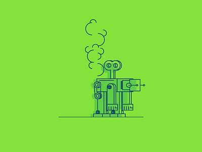 Burning Out line long run burn down robot graphic design illustration