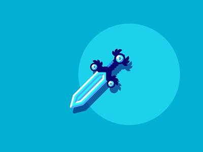 Dagger sharp gems. blade fantasy medieval dagger graphic design illustration