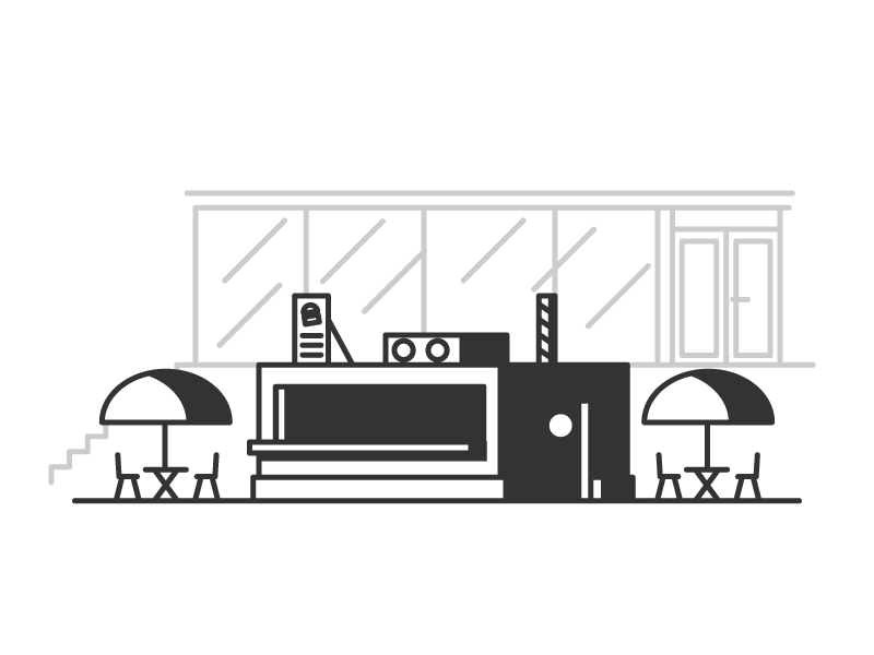 Burger Place store foodtogo chairs table food burger restaurant graphic design illustration