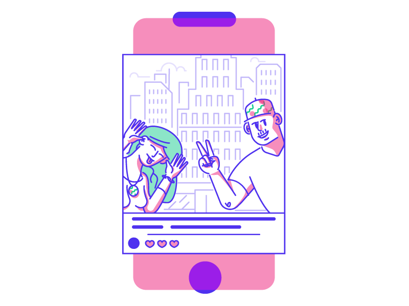 Selfie! social media man woman tongue peace sign holiday buildings selfie graphic design illustration